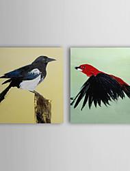 Dipinta a mano Animali Due Pannelli Tela Hang-Dipinto ad olio For Decorazioni per la casa