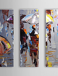 billige -Hånd-malede Abstrakt Tre Paneler Canvas Hang-Painted Oliemaleri For Hjem Dekoration