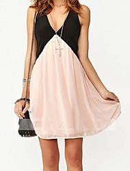 economico -Vestito da sera da donna, colori a contrasto, scollatura profonda a V