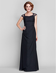 Sheath / Column Queen Anne Floor Length Chiffon Lace Mother of the Bride Dress with Lace Side Draping by LAN TING BRIDE®