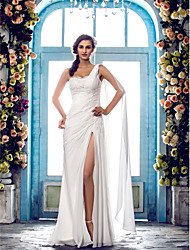 cheap -Sheath / Column One Shoulder Sweep / Brush Train Chiffon Wedding Dress with Beading Appliques by LAN TING BRIDE®