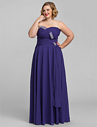 cheap -A-Line Strapless Sweetheart Floor Length Chiffon Prom Dress with Beading by TS Couture®