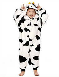 Kigurumi Pajamas Milk Cow Leotard/Onesie Festival/Holiday Animal Sleepwear Halloween Black/White Patchwork Flannel Kigurumi For Kid