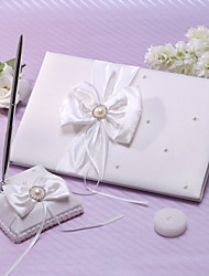 cheap -Guest Book Pen Set Satin Garden Theme With Ribbons Faux Pearl Wedding Ceremony