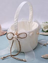 cheap -Chic Flower Basket In Ivory Satin With Shell Flower Girl Basket
