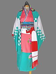 cheap -Inspired by Blue Exorcist Shiemi Moriyama Anime Cosplay Costumes Cosplay Suits Kimono Geometric Long Sleeves Yukata Headpiece Corset Belt