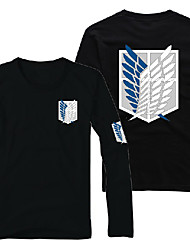 Inspired by Attack on Titan Eren Jager Anime Cosplay Costumes Cosplay Hoodies Print Long Sleeve T-shirt For Male