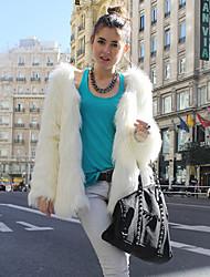 manicotto di pelliccia partito / giacca casual finto senza collo lungo (più colori)