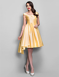 A-Line Scoop Neck Knee Length Taffeta Cocktail Party Homecoming Holiday Dress with Pleats Criss Cross by TS Couture®