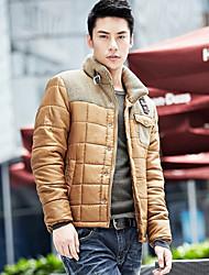 Недорогие -Мужчины шерсти строчки куртка хлопка