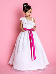 A-Line Princess Floor Length Flower Girl Dress - Organza Sleeveless Straps with Ribbon by LAN TING BRIDE®