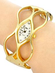 Women's rhombus dial hollow engraving alloy band quartz analog bracelet watch Cool Watches Unique Watches