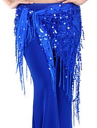 baratos -Dança do Ventre Lenços de Quadril para Dança do Ventre Mulheres Treino Náilon Chinês Lantejoulas Mocassim Xale de Dança do Ventre