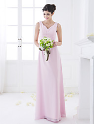 cheap -Sheath / Column V Neck Floor Length Chiffon Bridesmaid Dress with Draping / Side Draping by LAN TING BRIDE®