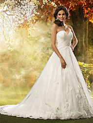 cheap -A-Line / Princess Sweetheart Neckline Court Train Tulle Made-To-Measure Wedding Dresses with Appliques / Criss-Cross by LAN TING BRIDE®