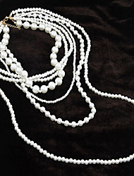 cheap -Women's Strands Necklaces Pearl Strands Necklaces , Party Daily
