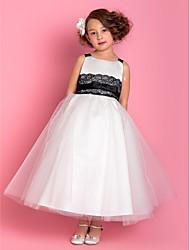 Un vestito della ragazza di fiore della lunghezza della caviglia della principessa della linea - cinghie senza maniche di tulle dalla lan della sposa