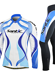 cheap -SANTIC Men's Long Sleeves Cycling Jersey with Tights - Blue Bike Clothing Suits, Thermal / Warm, Breathable