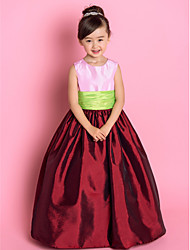 A-Line Princess Floor Length Flower Girl Dress - Taffeta Sleeveless Jewel Neck by LAN TING BRIDE®