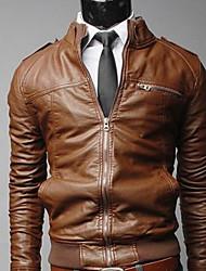 Shangdu Pánské ochladí Zip Short Zeštíhlující Jacket (hnědá)