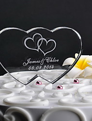 cheap -Personalized Double Heart Wedding Cake Topper