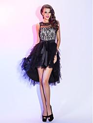 preiswerte -A-Linie Asymmetrisch Spitze Tüll Cocktailparty Abschlussball Festtage Kleid mit Schärpe / Band Kaskaden Rüschen durch TS Couture®