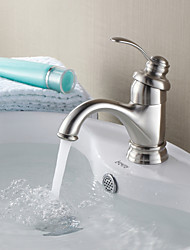 Недорогие -Современный По центру Керамический клапан Одно отверстие Одной ручкой одно отверстие Матовый никель , Ванная раковина кран