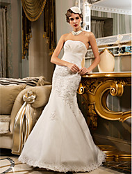 cheap -Mermaid / Trumpet Strapless Floor Length Chiffon / Organza Made-To-Measure Wedding Dresses with Beading / Appliques / Side-Draped by LAN