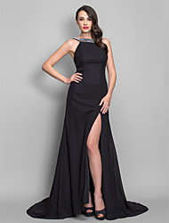 cheap -A-Line Princess Scoop Neck Sweep / Brush Train Chiffon Formal Evening Military Ball Dress with Pleats Split Front by TS Couture®