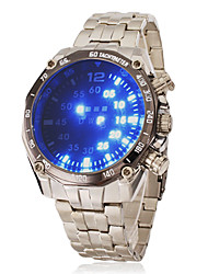 Men's Blue Led Digital Round Dial Steel Band Wrist Watch Cool Watch Unique Watch Fashion Watch