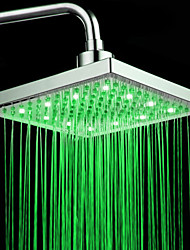 cheap -Chrome Finish Rectangular Temperature-controlled 3 Colors LED Shower Head