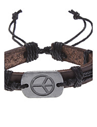 cheap -Men's Chain Bracelet Leather Bracelet ID Bracelet Unique Design Fashion Leather Fabric Others Peace Sign Jewelry Christmas Gifts Daily