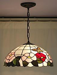 Недорогие -Подвеска цветок Pattern, 2 Свет, Тиффани смола стекло Картина Обработка