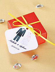 cheap -Personalized square tags - Tuxedo and Gown (set of 36) Wedding Favors