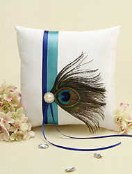 Blue Stripe With Peacock Feather White Ring Pillow Wedding Ceremony