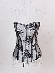 cheap -Sexy Lingerie Polyester-mixed Cotton Plastic Boned Lace-Up Corset Bustier and G-string Set Shaper