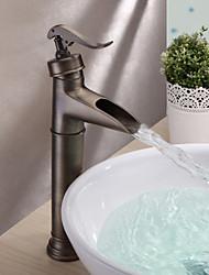 povoljno -Starinski Nadgradni umivaonik Waterfall Keramičke ventila Jedan Ručka jedna rupa Antique Brass, Kupaonica Sudoper pipa