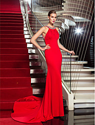 Sheath / Column Halter Sweep / Brush Train Jersey Formal Evening Dress with Crystal Detailing Draping by TS Couture®