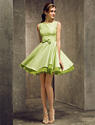 cheap -A-Line Bateau Neck Short / Mini Taffeta Bridesmaid Dress with Bow(s) by LAN TING BRIDE®