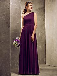preiswerte -Eng anliegend Ein-Schulter Boden-Länge Chiffon Brautjungfernkleid mit Seitlich drapiert durch LAN TING BRIDE®