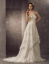 Eng anliegend Halter Hof Schleppe Chiffon Spitze Hochzeitskleid mit Perlenstickerei Gestuft durch LAN TING BRIDE®