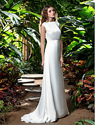 cheap -Sheath / Column Bateau Neck Sweep / Brush Train Chiffon Made-To-Measure Wedding Dresses with by LAN TING BRIDE®