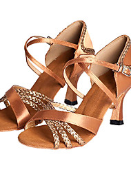 cheap -Women's Latin Ballroom Salsa Satin Heel Customized Heel Bronze Customizable