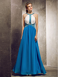 cheap -Sheath / Column Jewel Neck Floor Length Chiffon Bridesmaid Dress with Beading / Lace by TS Couture® / Prom / Formal Evening / Color Block