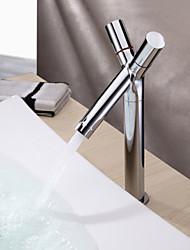 Moderno Installazione centrale Valvola in ceramica Uno Due manopole Un foro for  Cromo , Lavandino rubinetto del bagno