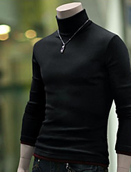 cheap -Men's Weekend Long Sleeves Wool Slim Pullover - Solid Colored Turtleneck