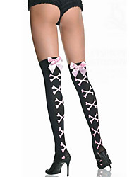 Black Nylon Vivid Bones Pattern Women's Halloween Stockings with Pink Bow