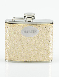 cheap -Personalized Gift Gold 5oz PU Leather Capital Letters Flask with Rhinestone