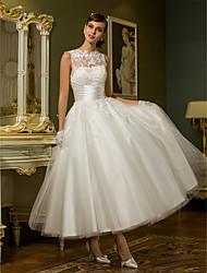 cheap -Princess Illusion Neckline Ankle Length Lace Over Tulle Custom Wedding Dresses with Appliques Sash / Ribbon Ruched by LAN TING BRIDE®