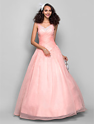cheap -Ball Gown / Princess Straps Floor Length Organza Open Back Prom / Formal Evening Dress with Beading / Criss Cross / Ruched by TS Couture®